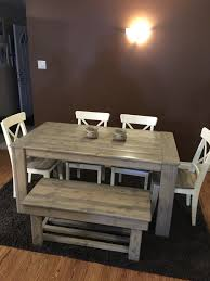 Redo Kitchen Table by 5ft Harvest Table With Bench And Chairs In A Special Grey Stain