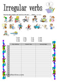 Esl Vocabulary Worksheets Simple Past Irregular Verbs Esl Resources Pinterest