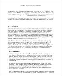 non disclosure agreement template u2013 9 free word pdf documents