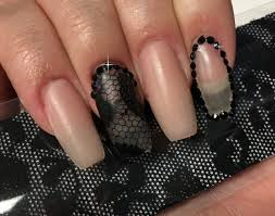 black lace nail cover