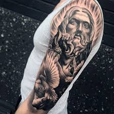 cool male jesus and dove half sleeve tattoo design ideas tatuaj