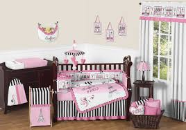 Girl Nursery Bedding Set by French Pink Black Eiffel Tower Paris Nursery Bedding 9pc Baby