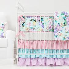 Purple And Teal Crib Bedding S Gold Pastel Floral Ruffle Baby Bedding Caden