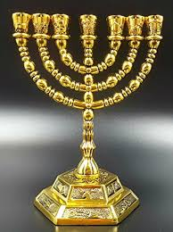 7 candle menorah 7 branch temple menorah candle holder in gold 12