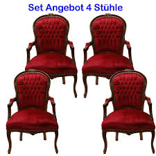 Esszimmerst Le Antik Salonstuhl Set 4 Stühle Rot Armlehnstuhl Barock Antik Stil