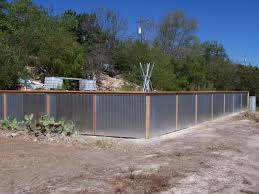 corrugated metal fence construction with well made corrugated