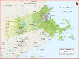 Boston Ma Map by Massachusetts Physical State Map