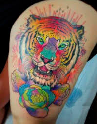 girly colorful tiger on thigh