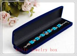 jewelry box 20 wholesale 20pcs lot blue velvet jewelry box 22x5x2 8cm bracelet