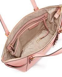 light pink michael kors handbag lyst michael michael kors jet set saffiano tote bag in pink