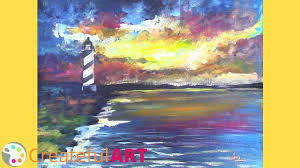 how to paint a sunset with lighthouse with acrylics painting tutorial