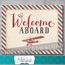 welcome aboard sign vintage airplane baby shower birthday