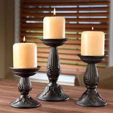 Home Interior Candle Holders Amazon Com Hosley Set Of 3 Resin Pillar Candle Holders 8