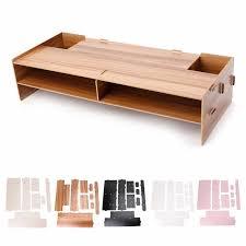 Decorative Desk Organizer 5 Colors Decorative Wood Desktop Monitor Riser Stand Holder Tv