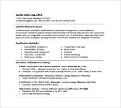 resume examples for medical assistants