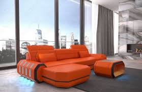 Orange Leather Chair Leather Sofa Brooklyn L Shape With Led
