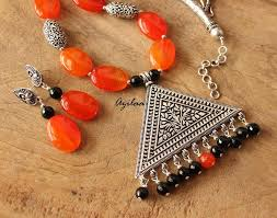 earrings statement necklace images Silver statement necklace with earrings orange bead necklace set jpg