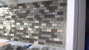 How To Install A Tile Backsplash In Kitchen by Glass Mosaic Tile Instalation Time Lapse Youtube