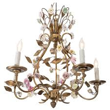 porcelain chandelier roses mid century italian chandelier with porcelain roses at 1stdibs