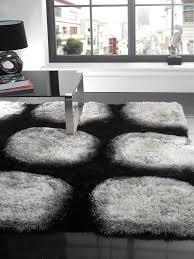 Rugs Modern Design Fashinable Black Big Soft Rug Idea And White Circle Motif