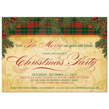 traditional christmas party invitation pine boughs cones