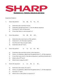 free worksheets worksheets sequences and series free math