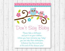 clothespin baby shower don t say baby owl baby shower pink owl clothespin baby