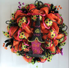Halloween Door Wreaths Diy Haunted House Halloween Mesh Wreath The Wreath Depot