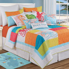 Bright Comforter Sets Asian Inspired Bedspreads 7pc Peach Plum Blossoms Embroidered