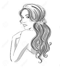 sketch of a beautiful with bridal hairstyle black and white