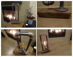 steampunk interior design nostalgic wood base iron pipe desk lamp