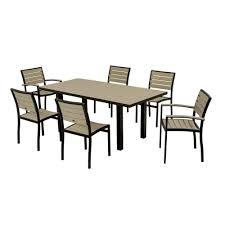 Outdoor Patio Furniture Polywood Euro Textured Black 7 Piece Patio Dining Set With Sand