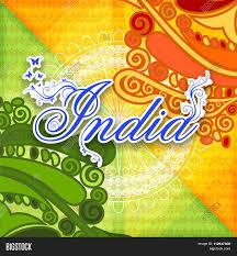 stylish text india on ashoka wheel and floral decorated background