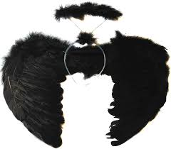 allsorts black feather dark angel wings and halo fancy dress