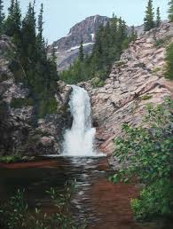 Montana waterfalls images Landscape waterfall paintings by shirley reade jpg