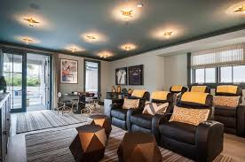 Game Room Rug Movie Room With Blue Painted Ceiling And Black Recliner Chairs