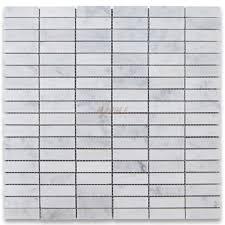 carrara white 5 8x2 rectangular stacked mosaic tile polished