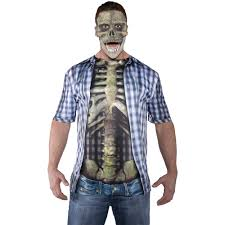 skeleton halloween costumes for adults blue photo real skeleton shirt halloween costume walmart com