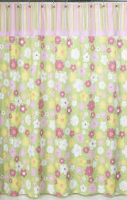Kids Fabric Shower Curtain - pink and green blossom kids bathroom fabric bath shower curtain