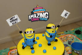 minions cake toppers minions fondant cake topper 2 pieces set ready to ship in 3 5