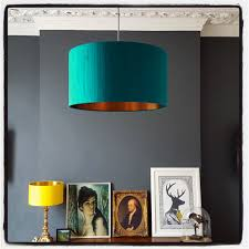 indian silk lampshade in teal with brushed copper lining love