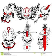 vector illustration of collection of skull tattoo design tattoo