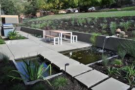 modern patio exterior design modern landscape ideas with pond design and