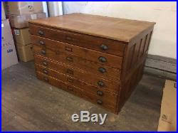 Wood Flat File Cabinet Vintage Oak Wood Flat File Blueprint Cabinet 46 W