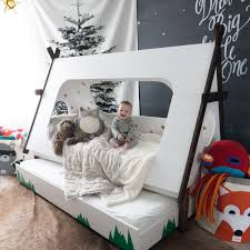 canopy toddler beds for girls this diy bed lets kids feel like they u0027re camping all year beds