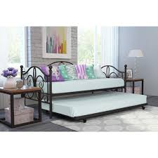 bedroom white wrought iron trundle bed frame with white mattress