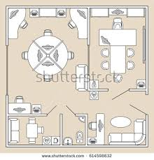 Floor Plans With Furniture Architectural Set Furniture Interior Design Elements Stock Vector