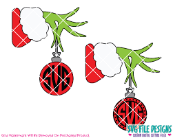 monogram christmas grinch monogram christmas ornament svg cut file set