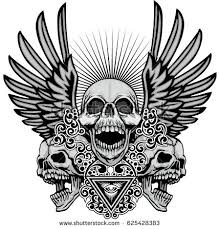 coat arms skull wings grunge stock vector 625428383