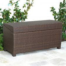 Cushioned Storage Bench Outdoor Simple Natural Wicker Cushioned Storage Seat Dual